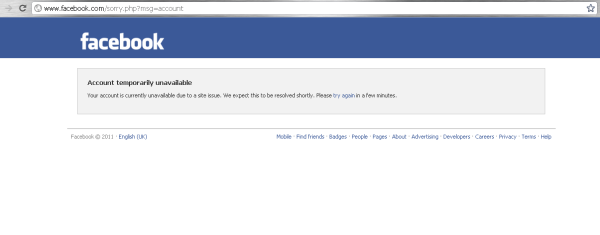 Facebook Crash Screen @ www.varunmittal.info